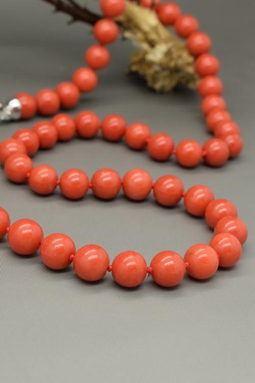 Collana di corallo rosso mediterraneo prima scelta mm 7.5-8