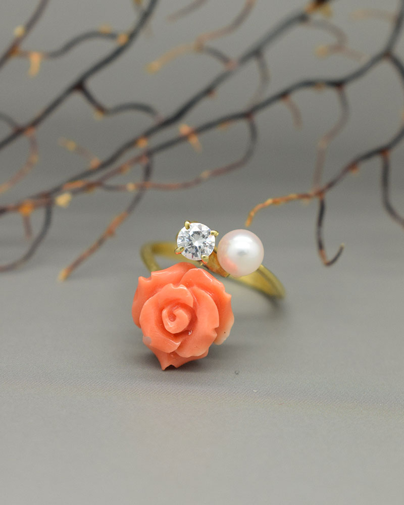 Anello di corallo Rosa, Zirconi, perle ed argento
