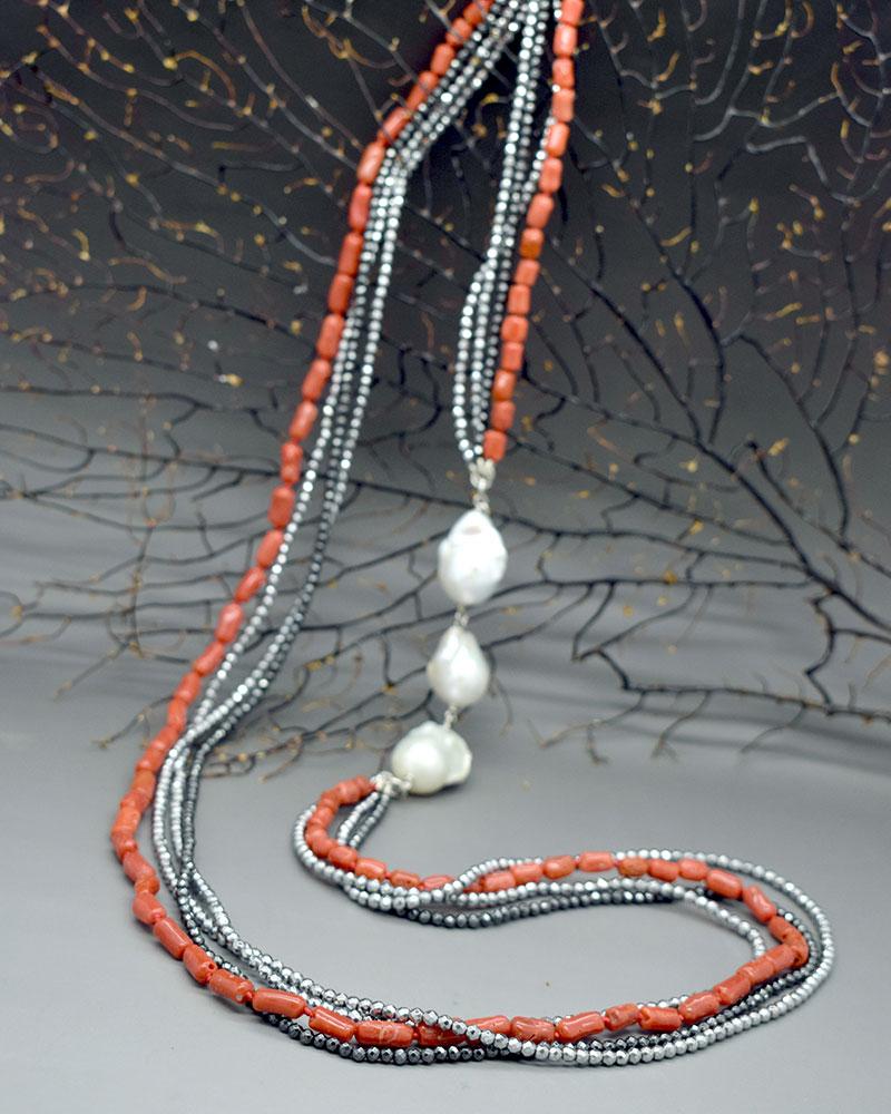 Collana Corallo ematite e perle bianche