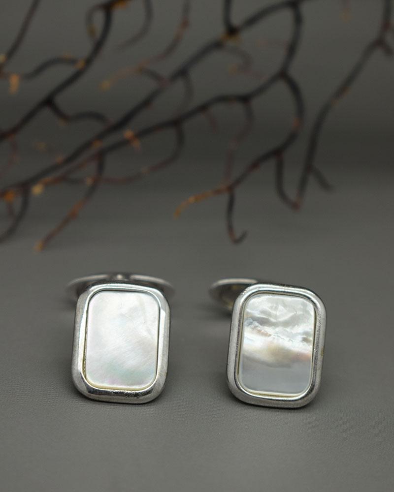 Gemelli di madre perla bianca in argento