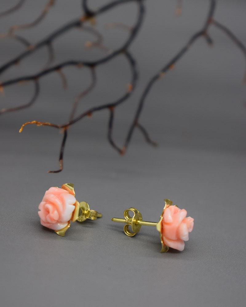Orecchini Roselline Rosa Corallo