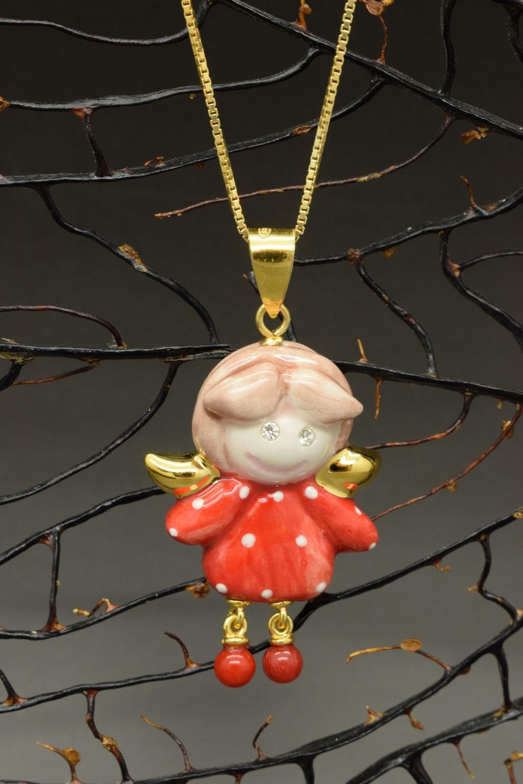 ciondolino portafortuna, angioletto fortunato con collana in argento