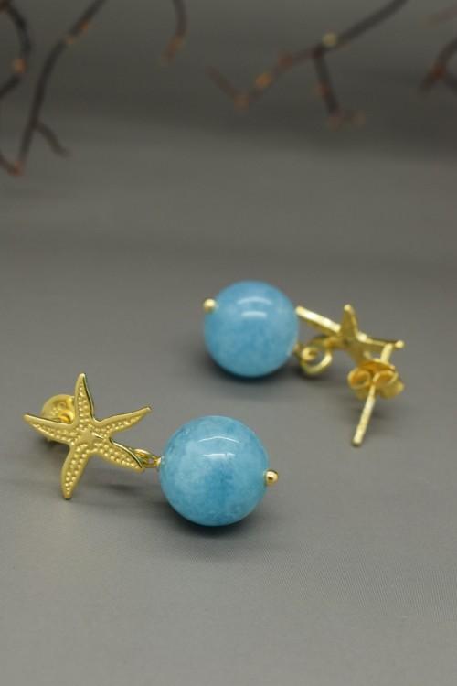 Orecchini a forma di stella marina e sfera di quarzo azzurro