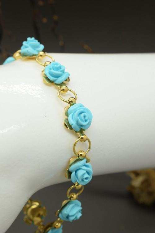 Bracciale in oro 18k con 10 roselline in pasta di turchese prima scelta