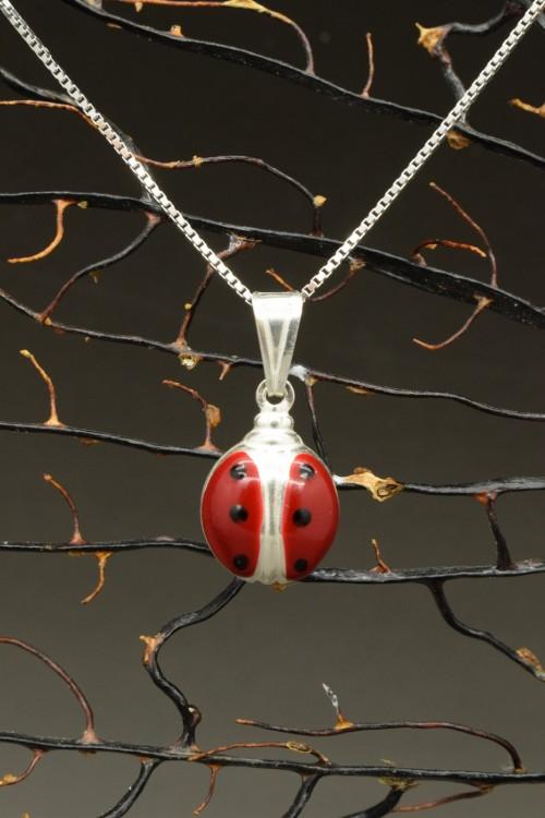 Ciondolino coccinella portafortuna 2a misura con collana in argento 925