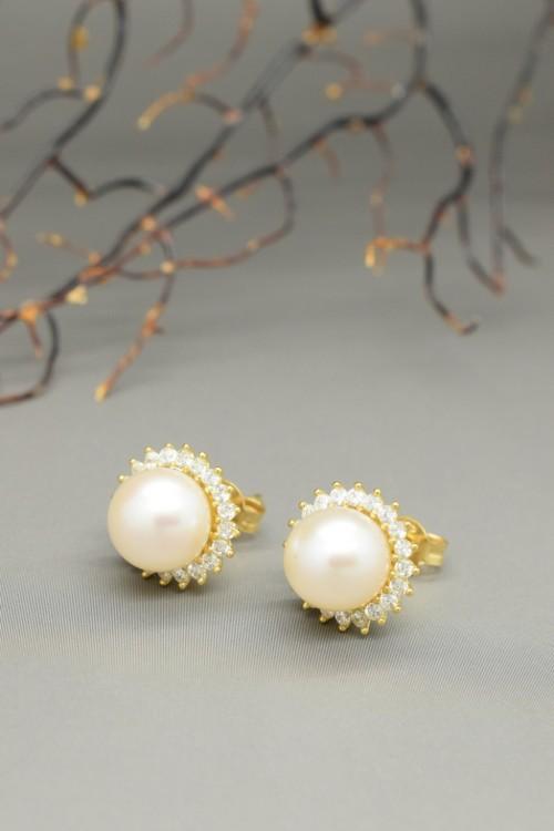 Orecchini di perle bianche akoya in oro 18k