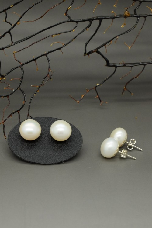 Orecchini di perle di fiume bianche 3 a misura