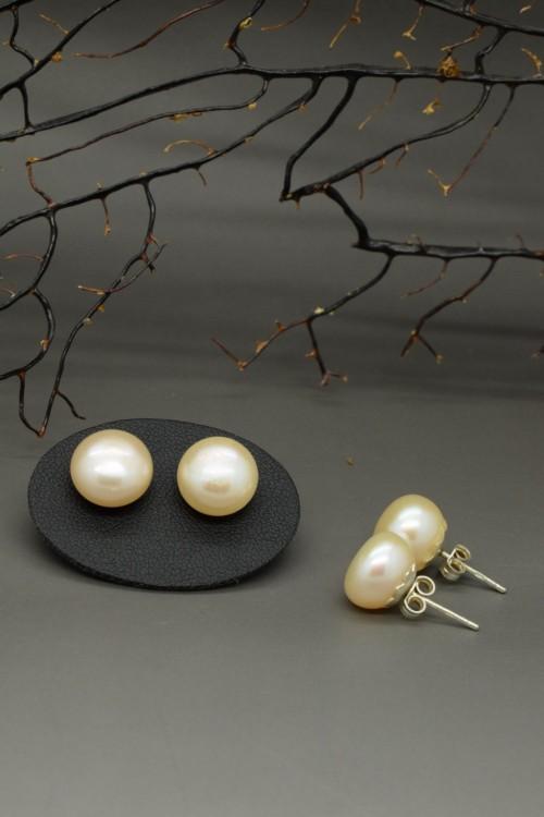 Orecchini di perle di fiume rosa salmone chiaro, 3a misura in argento 925
