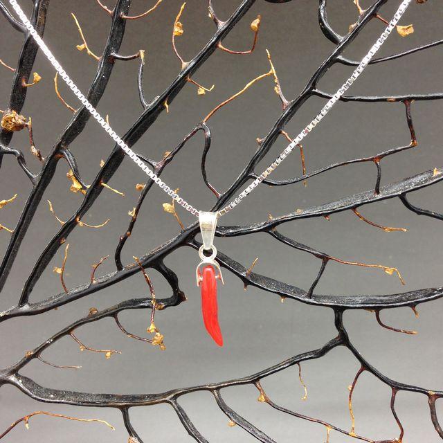 Cornetto di corallo rosso 1a misura con collanina in argento 925 cm 45