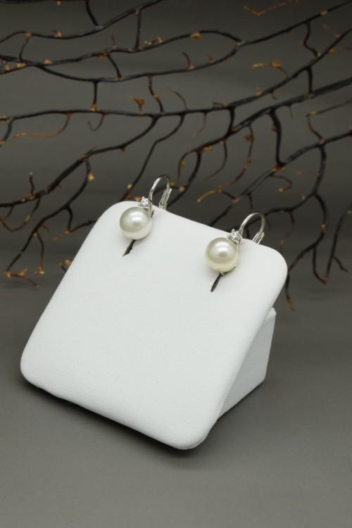 orecchini di perle sferiche in oro bianco 18k