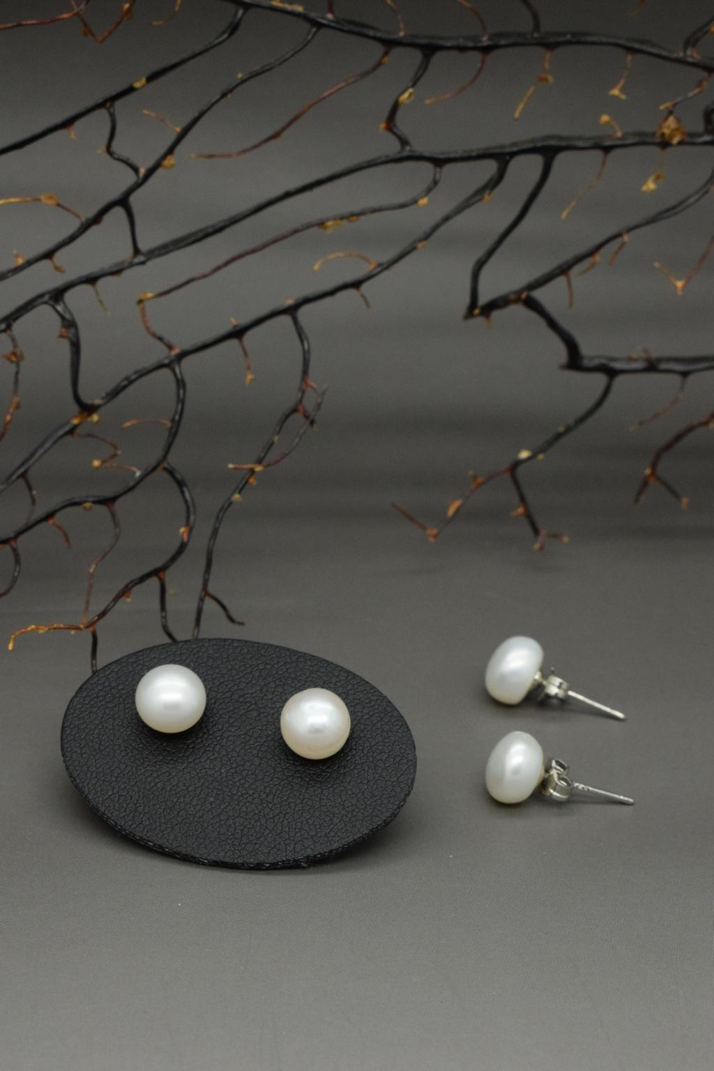 Orecchini di perle di fiume in argento 925, 1a misura