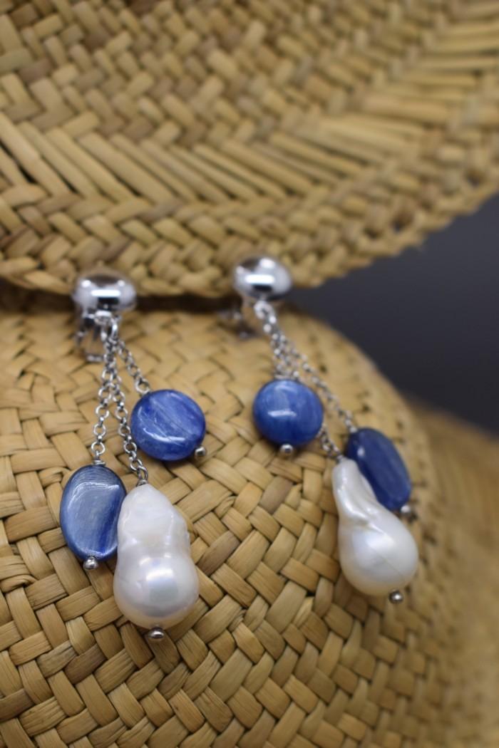 orecchini con cianite e perle