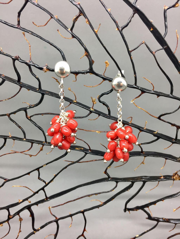 orecchini corallo rosso a grappolo