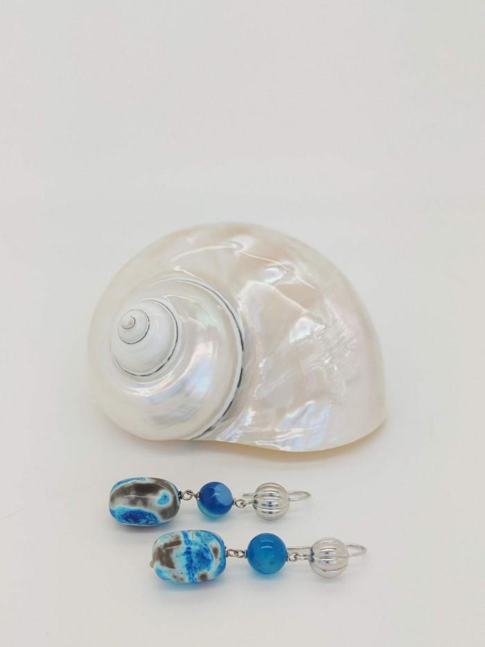 orecchini di agata blu in argento 925