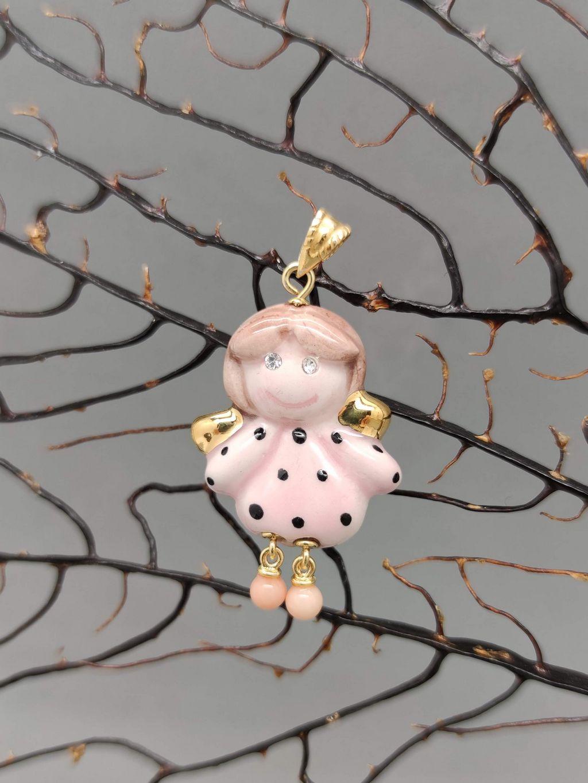Ciondolo angioletto portafortuna rosa