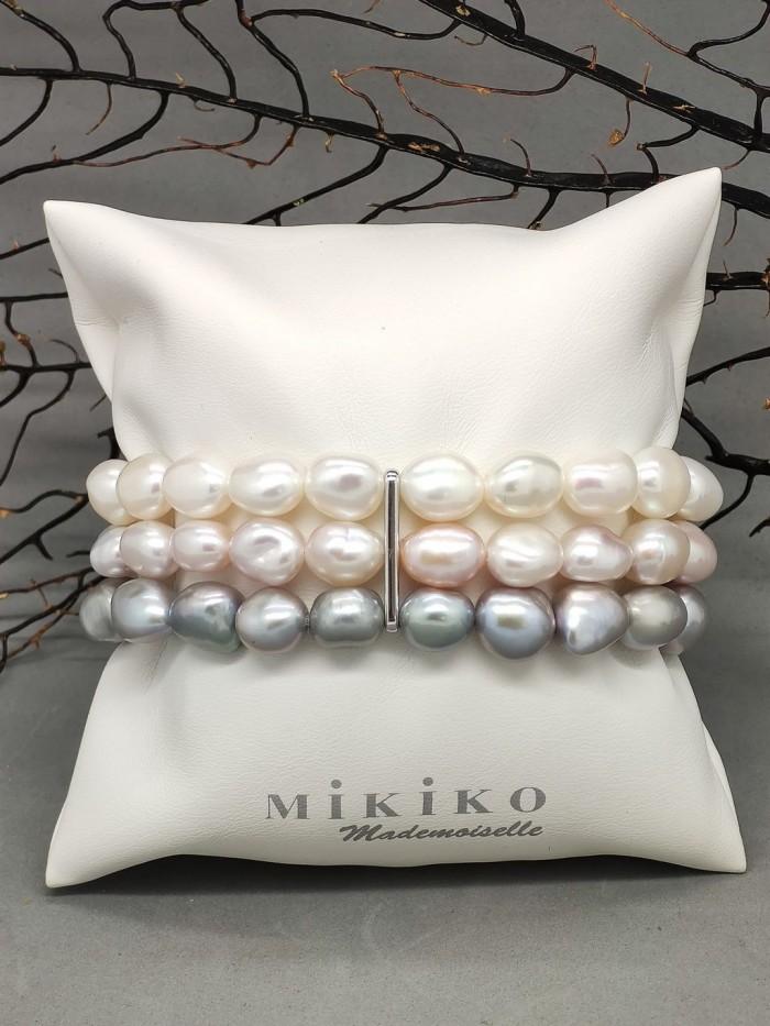 Bracciale di perle a tre fili multicolor