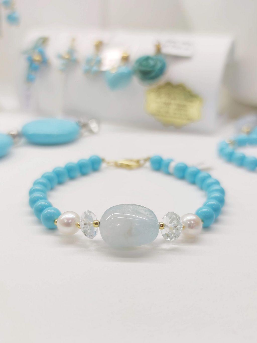 Bracciale acquamarina perle e pasta di turchese
