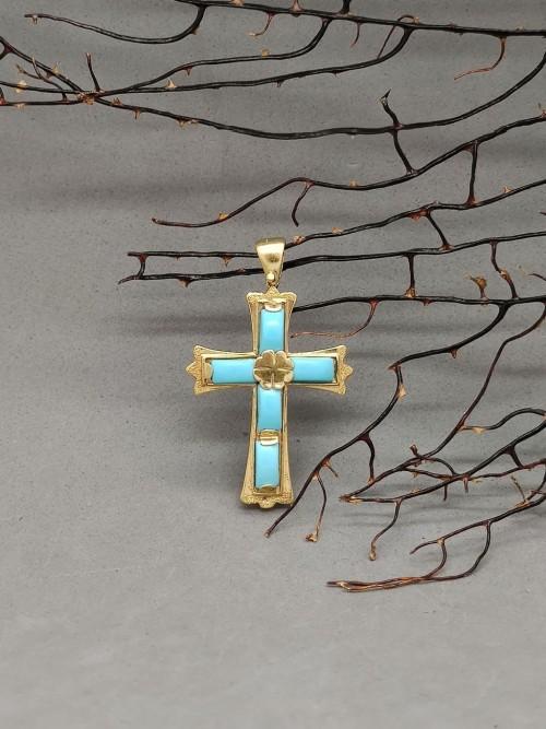 Croce in Pasta di turchese 4 fiori e oro 18k