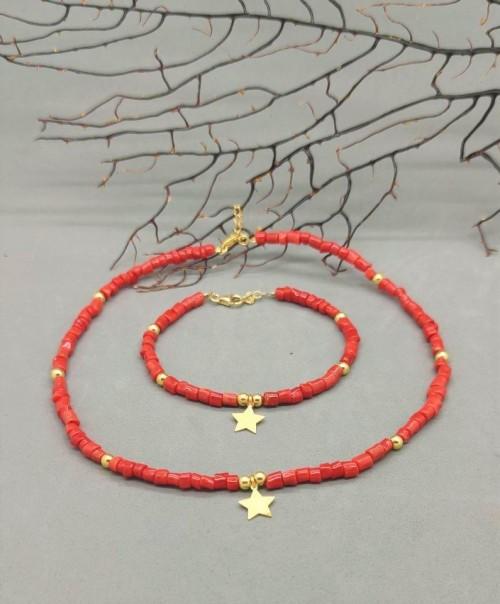 collana di corallo rosso corta